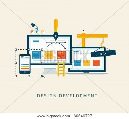 Building/Designing a website or application. Flat style vector poster