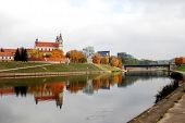 stock photo of archangel  - Vilnius archangel church on the board river Neris - JPG
