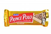 Prince Polo chocolate bar isolated on white background