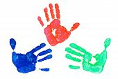 image of dna fingerprinting  - Detail imprint blue red and green hand on a white background - JPG