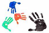 image of dna fingerprinting  - Detail imprint blue red green and black hand on a white background - JPG