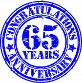 Cogratulations 65 Years Anniversary Grunge Rubber Stamp, Vector Illustration