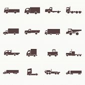 stock photo of dumper  - Transport truck icons - JPG