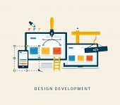 pic of computer  - Design development flat icon app for web and mobile - JPG
