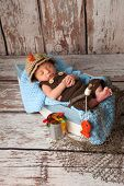 image of fishermen  - Portrait of a nine day old newborn baby boy - JPG