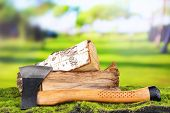 picture of ax  - Ax and firewood on green grass - JPG