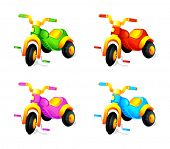 Child colorful 3-wheel toy cars isolated