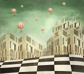 stock photo of unique landscape  - Illustration of a several modern buildings in a surreal landscape and many hot air balloons - JPG