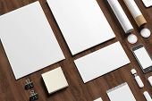 stock photo of letterhead  - Blank stationery on wooden background - JPG