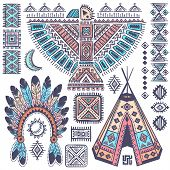 picture of wigwams  - Vintage Tribal native American set of symbols - JPG