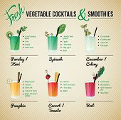 stock photo of root vegetables  - Healthy cocktails and smoothies recipes and vector illustrations with fruit and vegetable decorations - JPG