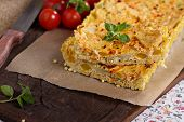 stock photo of millet  - Quiche with tofu and vegetables - JPG