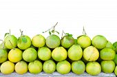 picture of pomelo  - Pomelos fruit with leaves on shelves for sales - JPG
