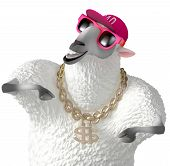 image of rapper  - 3 d cartoon cute rapper white sheep - JPG