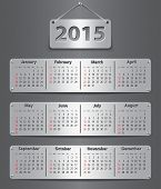 picture of weekdays  - Calendar for 2015 year in English attached with metallic tablets - JPG