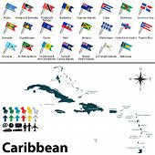 foto of political map  - Vector political maps with flags of Caribbean on white background - JPG