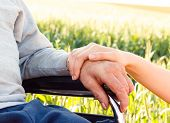 stock photo of grandfather  - Supporting hand for grandfather with Alzheimer - JPG