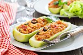stock photo of millet  - Vegan stuffed squash with millet - JPG