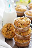 stock photo of substitutes  - Gluten free almond and oat muffins with apple and chocolate chips - JPG