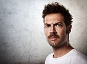 picture of mustache  - Portrait of a brutal man with a mustache - JPG