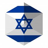 foto of israel israeli jew jewish  - Israel Flag Hexagon Flat Icon Button Vector - JPG