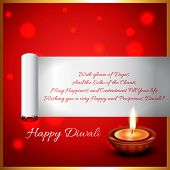 stock photo of diya  - Vector diwali diya background with space for your text - JPG