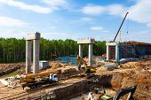 stock photo of trestle bridge  - The transport interchange construction in Moscow Russia - JPG