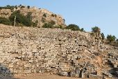 stock photo of dalyan  - Kaunos amphitheatre in Dalyan Town - JPG