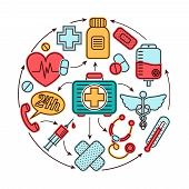 pic of first aid  - Medical emergency first aid health care icons set medicine concept vector illustration - JPG