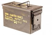 pic of ammo  - a military ammo box isolated over a white background - JPG