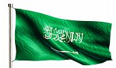 stock photo of flag pole  - Saudi Arabia National Flag Isolated 3D White Background - JPG