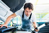 picture of breakdown  - Auto mechanic working in car service workshop - JPG