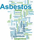 stock photo of asbestos  - Word cloud concept illustration of asbestos hazard - JPG