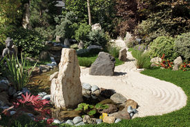 picture of sand lilies  - A oriental zen garden with sand and rocks - JPG