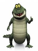 stock photo of gator  - An adorable smiling friendly cartoon crocodile doing a thumbs up with his hand - JPG