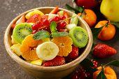 foto of fruit bowl  - Fresh organic fruit salad  - JPG