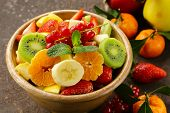 pic of strawberry  - Fresh organic fruit salad  - JPG