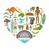pic of boomerang  - Australia travel tourism and landmarks decorative icons set in heart shape vector illustration - JPG
