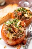 stock photo of veal meat  - Baked Tomatoes Stuffed with Meat - JPG