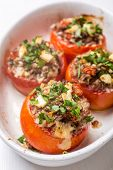 picture of veal meat  - Baked Tomatoes Stuffed with Meat - JPG