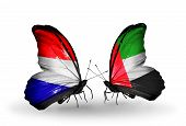 picture of holland flag  - Two butterflies with flags on wings as symbol of relations Holland and UAE - JPG