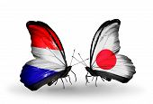 picture of holland flag  - Two butterflies with flags on wings as symbol of relations Holland and Japan - JPG