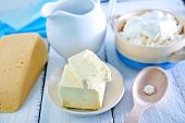 foto of milk  - milk products on a table butter and milk - JPG