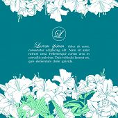 stock photo of obituary  - Card template with white lilies - JPG