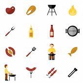picture of fish icon  - Bbq grill icon flat set with meat and fish steaks and cooking utensil isolated vector illustration - JPG