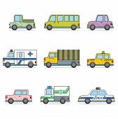 picture of monster-truck  - Vector illustration of different types car - JPG
