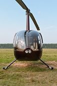 image of rescue helicopter  - Front view of small light rescue helicopter - JPG