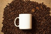 picture of mug shot  - Closeup shot of white mug against of coffee background with star anise - JPG