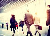 stock photo of commutator  - Business People Walking Commuter Travel Motion City Concept - JPG