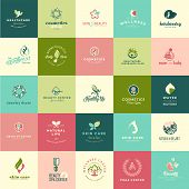 picture of health center  - Set of flat design beauty and nature icons for natural products - JPG